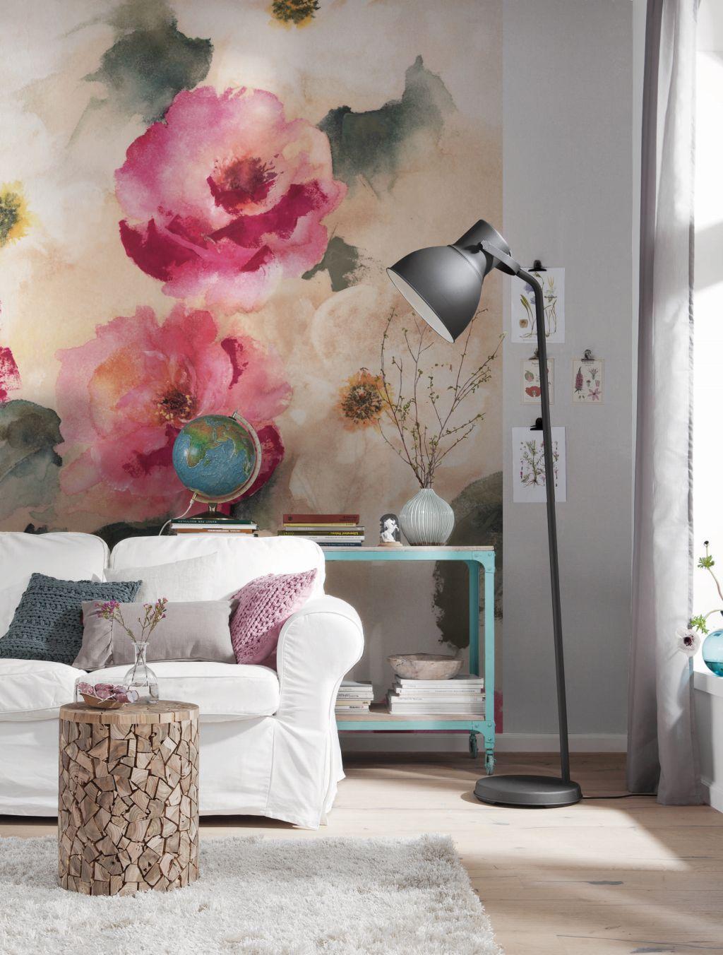 интерьер обои в большие цветы термобелья Термобелье
